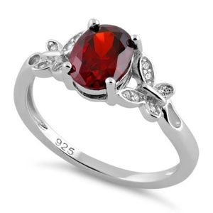 Jewelry - Sterling Silver  Butterfly Garnet Center Stone CZ